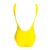 Yellow bananito, traje de baño amarillo de espalda abierta, cremallera rosa, pink zipper, bañador, swimsuit, bathing suit, traje de baño cremallera, disponible en corte alto y bajo, available in high and low cut, open back one piece.