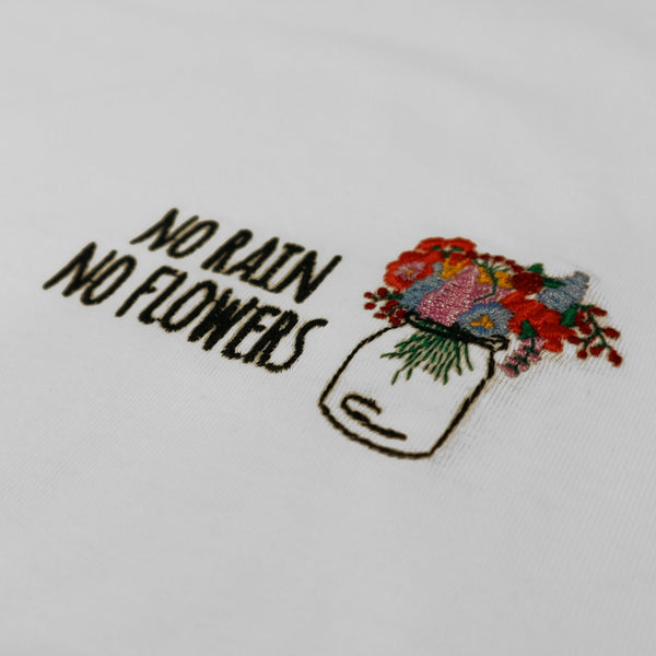 Basic cut white t-shirt with embroided quote. Relaxed fit. Made of 100% organic cotton. Designed in Spain, made in Portugal. Camiseta básica blanca. Camiseta básica con frase. Camiseta básica oversized. Camiseta para blazer.