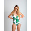 Green plants print bamboo, traje de baño blanco estampado de plantas verdes, espalda abierta, cremallera verde, green zipper, bañador, swimsuit, bathing suit, traje de baño cremallera, disponible en corte alto y bajo, available in high and low cut, open back one piece.
