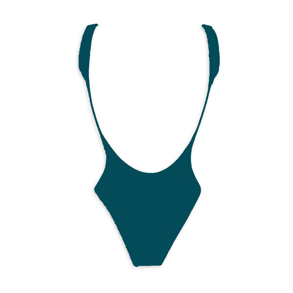 Dark green high and low cut one piece swimwear. White and adjustable big zipper. Open back and fitted at waist to flatter curves. Super stretchy and soft with double lining. Bañador verde petróleo. Bañador de espalda abierta. Bañador con cremallera.