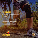 Running wearing KINETIC's Copper Knee Compression Sleeve
