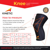 KINETIC Copper Knee Compression Sleeve Size Chart