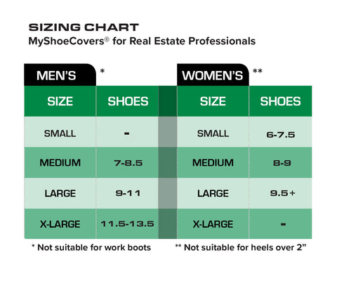 real estate shoe covers size chart