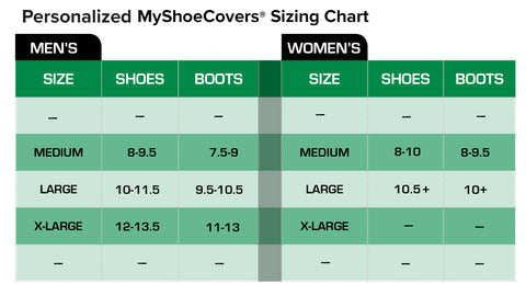 personalized shoe covers size chart