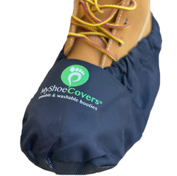 MyShoeCovers® Black Personalized Reusable Washable Shoe and Boot Covers 1 Pair with Printed Logo
