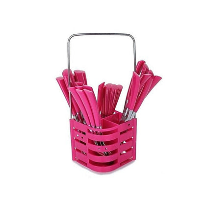 24 Piece Cutlery Set - Pink