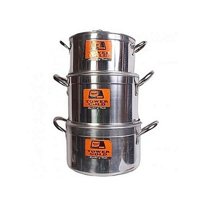 Tower Pure Aluminium 3 Set Cooking Pot- TOWER GOLD - buktops.com