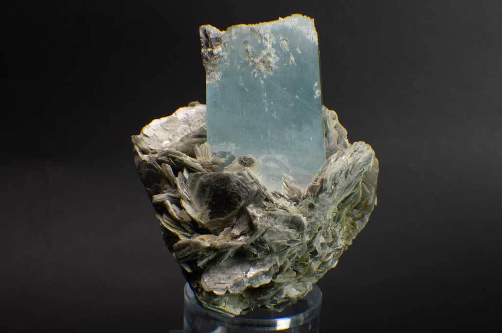 Aquamarine Crystal on Muscovite Mica Flower Matrix (Front View #1) for $795 at Mystical Earth Gallery