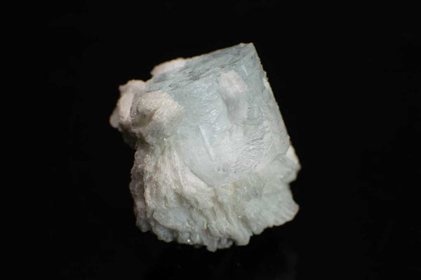 Icy Blue Aquamarine with Creamy White Albite Specimen (Side View#1) for $89.99 at Mystical Earth Gallery