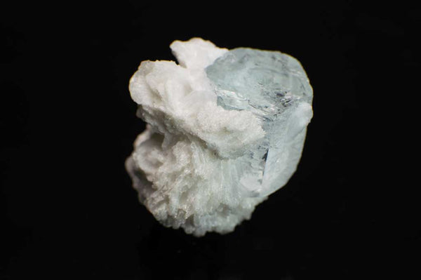 Icy Blue Aquamarine with Creamy White Albite Specimen (Side View#2) for $89.99 at Mystical Earth Gallery