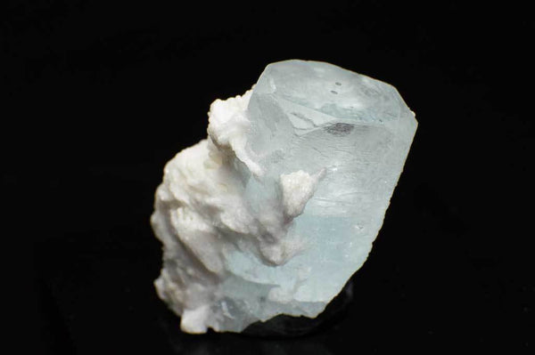 Aquamarine Crystal with Black Tourmaline and Creamy-White Albite Sheaves (Close Up Back View) for $189.99 at Mystical Earth Gallery