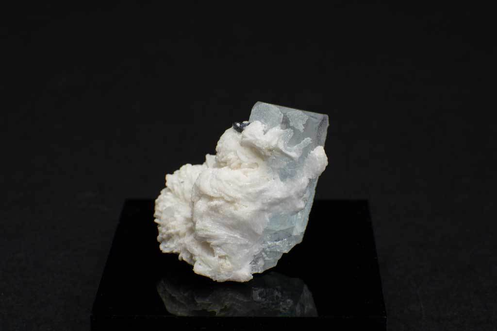 Aquamarine Crystal with Black Tourmaline and Creamy-White Albite Sheaves (Front View #4) for $189.99 at Mystical Earth Gallery