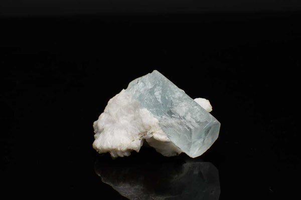Aquamarine Crystal with Black Tourmaline and Creamy-White Albite Sheaves (Laying Flat View #1) for $189.99 at Mystical Earth Gallery