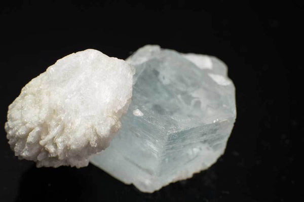 Aquamarine Crystal with Snow-White Albite Sheaves (Close Up View #1) for $119.99 at Mystical Earth Gallery