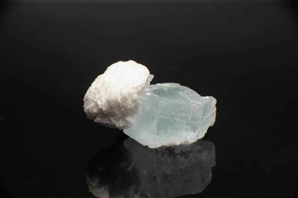 Aquamarine Crystal with Snow-White Albite Sheaves (Front View) for $119.99 at Mystical Earth Gallery