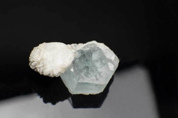 Aquamarine Crystal with Snow-White Albite Sheaves (Top View #1) for $119.99 at Mystical Earth Gallery