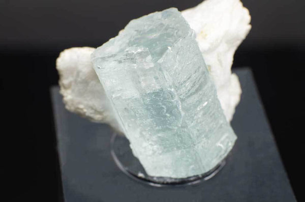 Aquamarine Crystal on Creamy-White Albite (Close Up Front View) for $349.99 at Mystical Earth Gallery