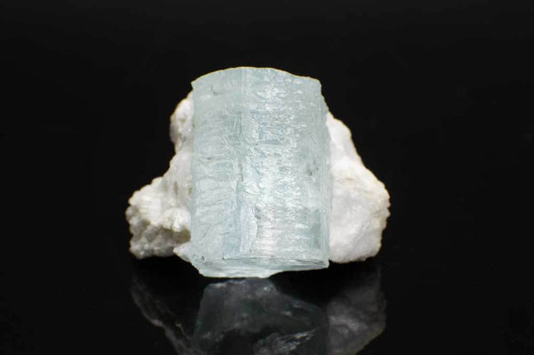 Aquamarine Crystal on Creamy-White Albite (Front View) for $349.99 at Mystical Earth Gallery