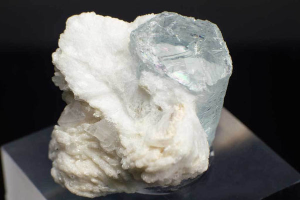 Aquamarine Crystal on Creamy-White Albite (Close Up Side View) for $349.99 at Mystical Earth Gallery