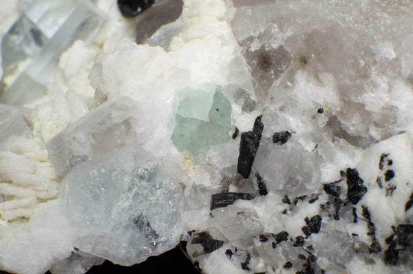 Aquamarine Crystals with Black Tourmaline, Smoky Quartz and Green Fluorite on Albite Matrix (Close Up View for Green Fluorite) for $449.99 at Mystical Earth Gallery