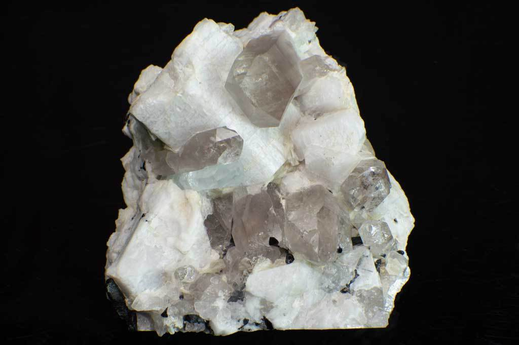 Aquamarine and Smoky Quartz Crystals with Black Tourmaline on Feldspar Matrix (Front View #1) for $249.99 at Mystical Earth Gallery