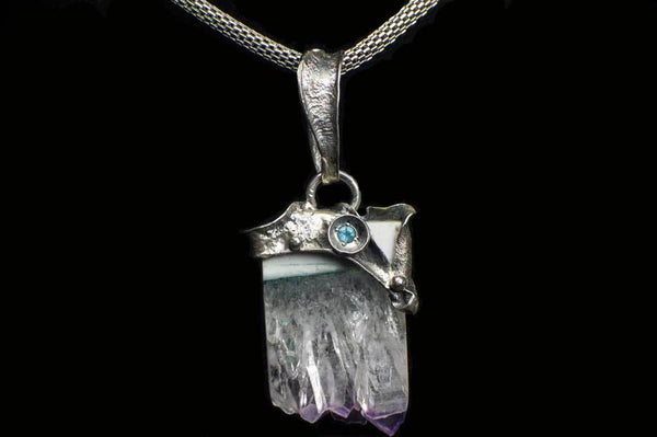 Amethyst Cluster Slice Alena Zena Pendant (Front View with Aquamarine) for $219 at Mystical Earth Gallery