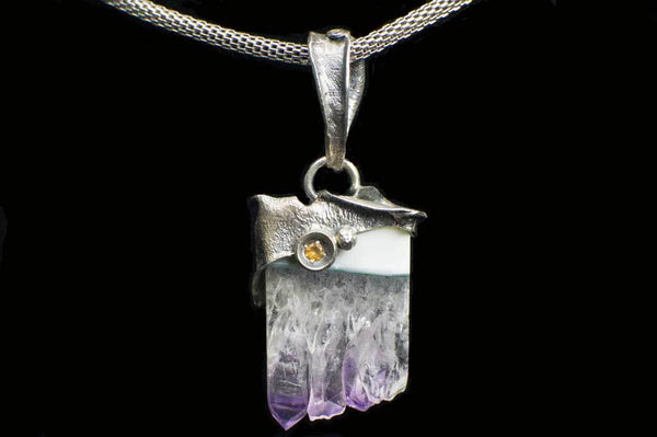 Amethyst Cluster Slice Alena Zena Pendant (Front View with Citrine) for $219 at Mystical Earth Gallery