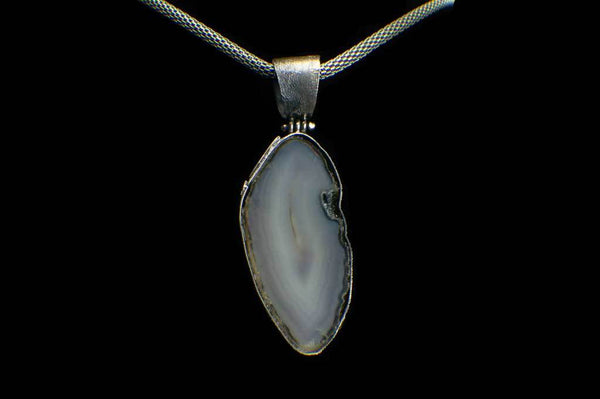 Alena Zena Agate Slice with Ethiopian Opal & Amethyst Pendant for $249 at Mystical Earth Gallery (Back View)