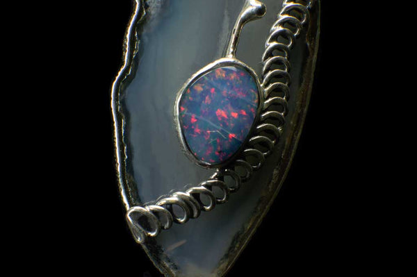 Alena Zena Agate Slice with Ethiopian Opal & Amethyst Pendant for $249 at Mystical Earth Gallery (Close Up View Bottom Half)