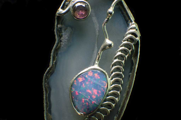 Alena Zena Agate Slice with Ethiopian Opal & Amethyst Pendant for $249 at Mystical Earth Gallery (Close Up View Ethiopian Opal)