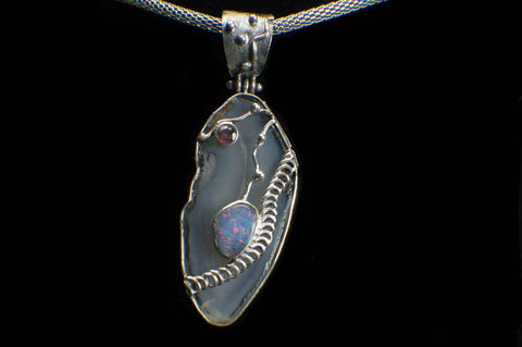 Alena Zena Agate Slice with Ethiopian Opal & Amethyst Pendant for $249 at Mystical Earth Gallery
