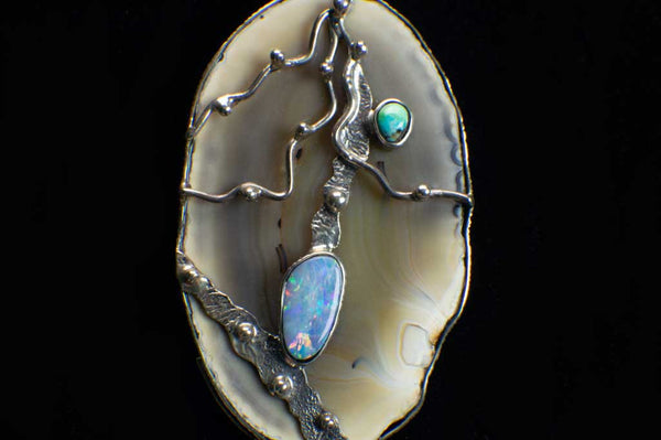 Alena Zena Agate Slice with Australian Blue Opal Pendant (Close Up View of Front) for $299 at Mystical Earth Gallery