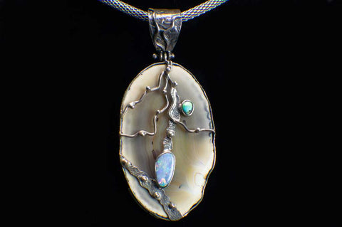 Alena Zena Agate Slice with Australian Blue Opal Pendant (Full View) for $299 at Mystical Earth Gallery