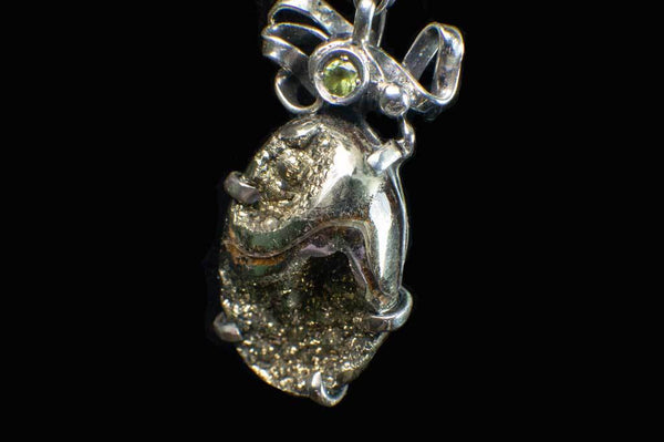 Alena Zena Pyritized Trilobite with Peridot Pendant for $219 at Mystical Earth Gallery (Close Up Side View #2)