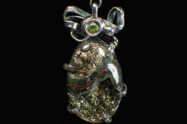 Alena Zena Pyritized Trilobite with Peridot Pendant for $219 at Mystical Earth Gallery (Close up Front View)
