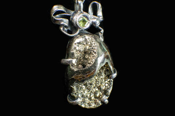 Alena Zena Pyritized Trilobite with Peridot Pendant for $219 at Mystical Earth Gallery (Close Up Side View #1)