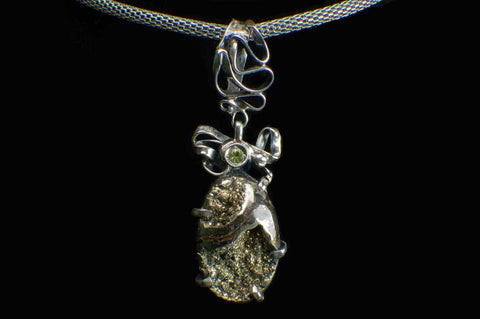Alena Zena Pyritized Trilobite with Peridot Pendant for $219 at Mystical Earth Gallery