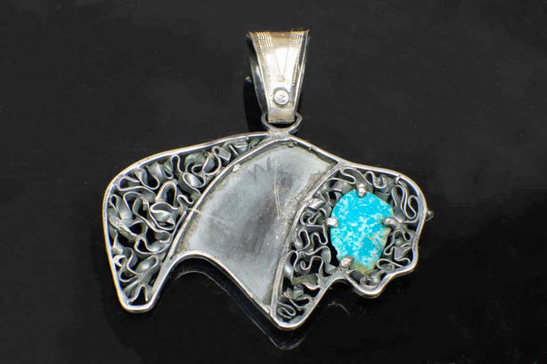 Alena Zena Turquoise Buffalo Pendant (Back View) for $299 at Mystical Earth Gallery