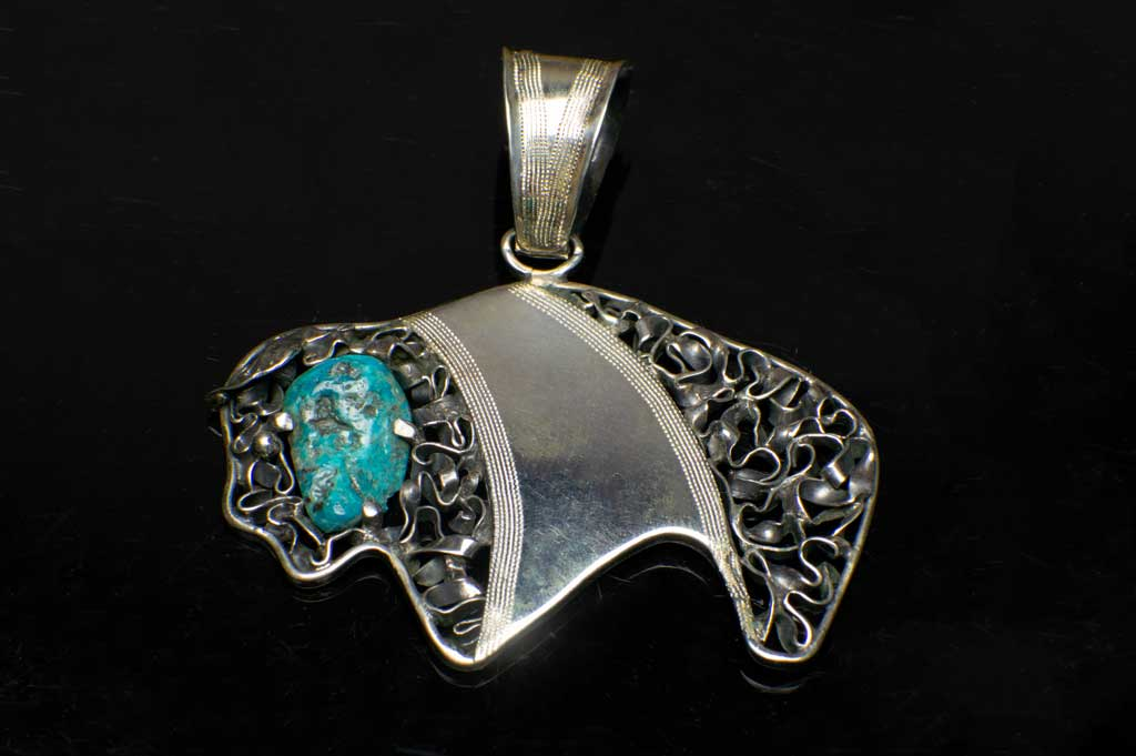 Alena Zena Turquoise Buffalo Pendant (Front View) for $299 at Mystical Earth Gallery