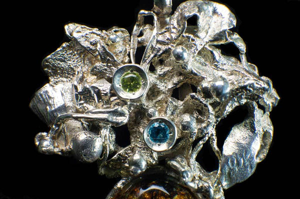 Alena Zena Baltic Amber with Faceted Aquamarine & Peridot Pendant for $259 at Mystical Earth Gallery (Close Up Silverwork View)