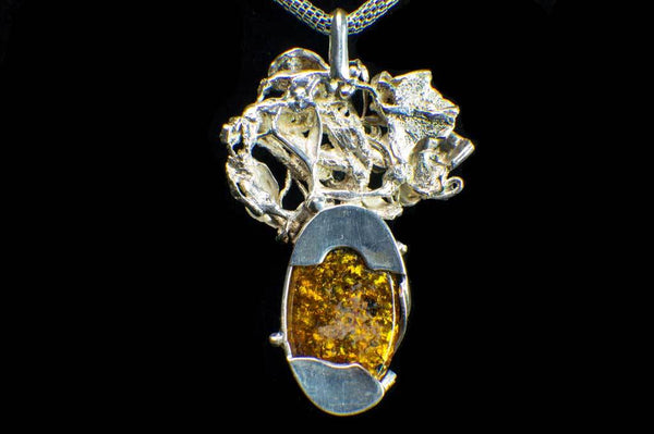 Alena Zena Baltic Amber with Faceted Aquamarine & Peridot Pendant for $259 at Mystical Earth Gallery (Full Back View)