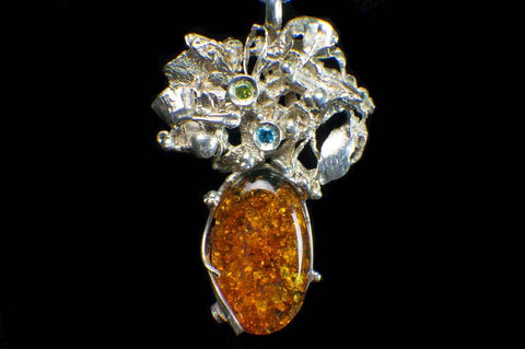 Alena Zena Baltic Amber with Faceted Aquamarine & Peridot Pendant for $259 at Mystical Earth Gallery (Full Front View)
