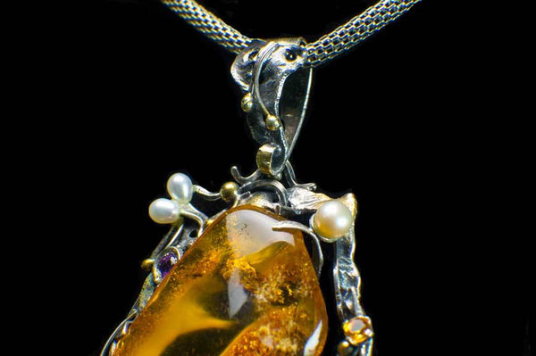 Alena Zena Baltic Amber with Mother-of-Pearl, Freshwater Pearls, Amethyst & Citrine Pendant for $449 at Mystical Earth Gallery (Close Up Bale View)