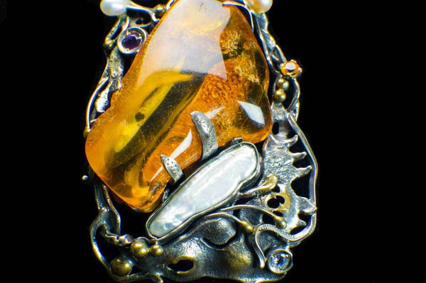 Alena Zena Baltic Amber with Mother-of-Pearl, Freshwater Pearls, Amethyst & Citrine Pendant for $449 at Mystical Earth Gallery (Close Up Silverwork View)