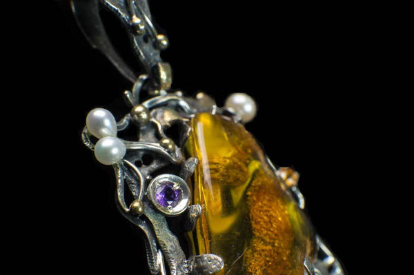 Alena Zena Baltic Amber with Mother-of-Pearl, Freshwater Pearls, Amethyst & Citrine Pendant for $449 at Mystical Earth Gallery (Close Up Side View)