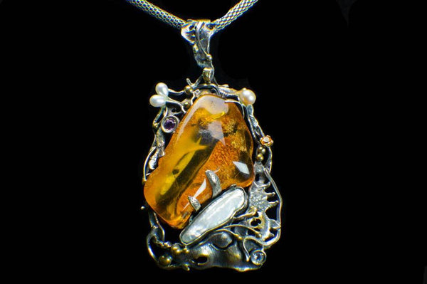 Alena Zena Baltic Amber with Mother-of-Pearl, Freshwater Pearls, Amethyst & Citrine Pendant for $449 at Mystical Earth Gallery (Full Front View)