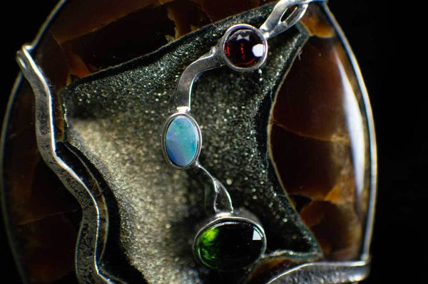 Alena Zena Simbercite with Australian Opal Pendant (Close Up View #1) for $349 at Mystical Earth Gallery