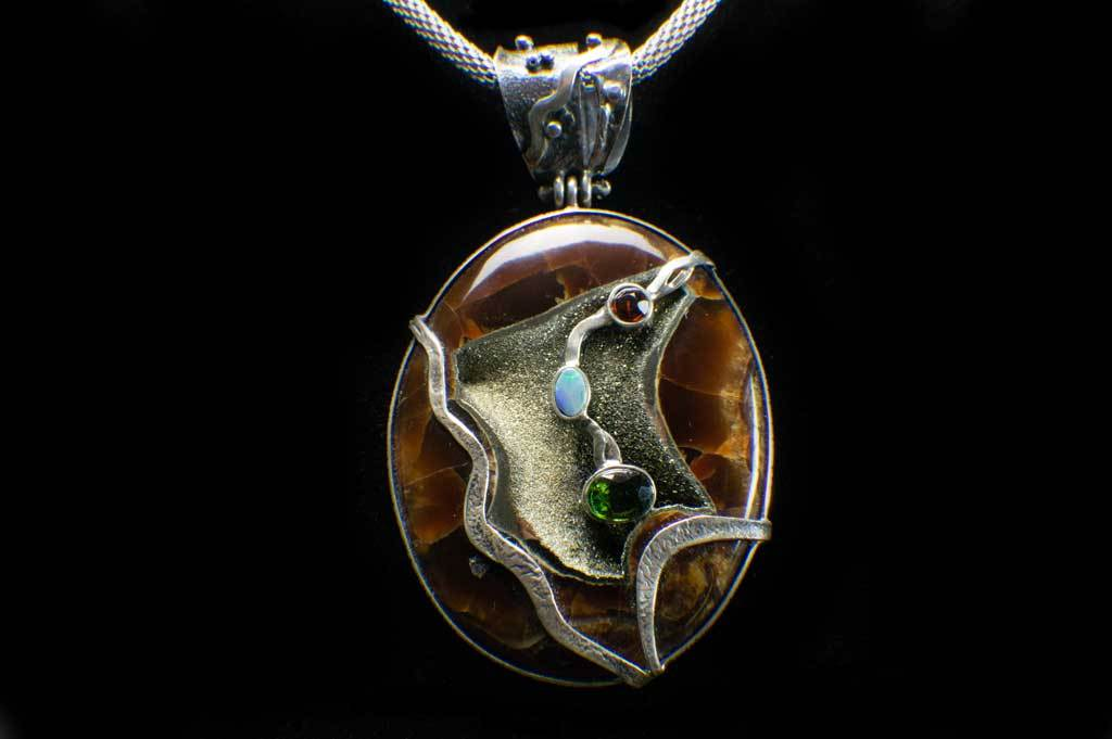 Alena Zena Simbercite with Australian Opal Pendant (Full View) for $349 at Mystical Earth Gallery