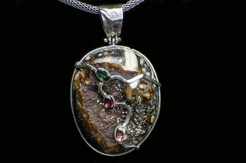 Alena Zena Simbercite with Pyrite Cubes Pendant (Full View #2) for $299  at Mystical Earth Gallery