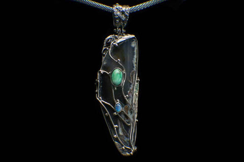 Alena Zena Agate Slice with Australian Blue Opal & Siberian Turquoise Pendant for $349 at Mystical Earth Gallery (Full Front view)